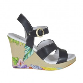 Woman's strap sandal in black and floral printed leather with platform and wedge heel 9 - Available sizes:  31, 32, 34, 42, 43