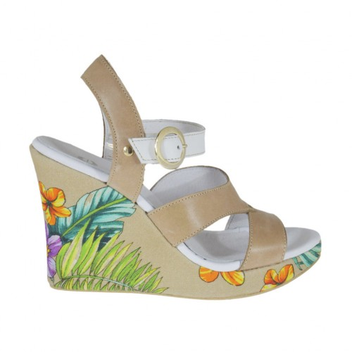 Woman's strap sandal in white, beige and floral printed leather with platform and wedge heel 9 - Available sizes:  43