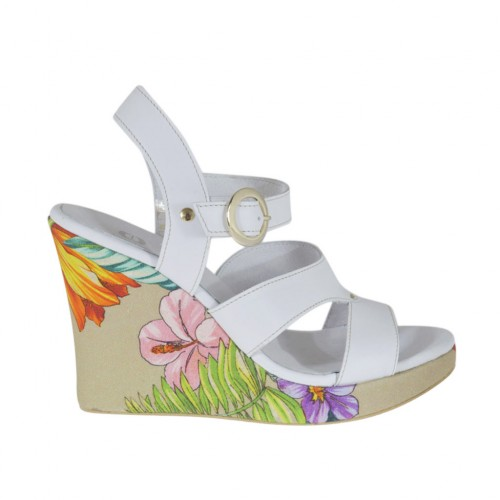 Woman's strap sandal in white and floral printed leather with platform and wedge heel 9 - Available sizes:  31, 42, 43, 44