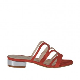 Sabo abierto para mujer en gamuza imprimida rojo brillante y charol plateado tacon 2 - Tallas disponibles:  32, 33, 42, 43, 45