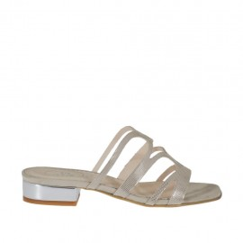 Woman's open mule in beige glittered printed suede and silver patent leather heel 2 - Available sizes:  33, 34, 42, 43