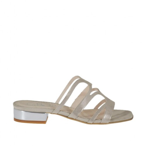 Woman's open mule in beige glittered printed suede and silver patent leather heel 2 - Available sizes:  42