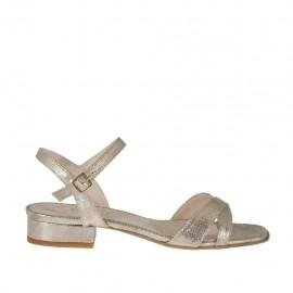 Sandalia laminada imprimida platino con cinturon para mujer tacon 2 - Tallas disponibles:  32, 34, 42, 43, 45, 46