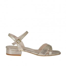 Sandalo stampato laminato platino da donna con cinturino tacco 2 - Misure disponibili: 32, 33, 34, 42, 43, 44, 45, 46