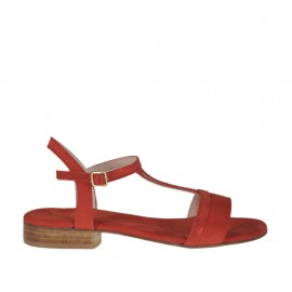 Woman's strap sandal in glittered and red suede heel 2 - Available sizes:  32, 33, 34, 42, 43, 45, 46