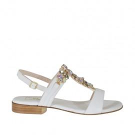 Sandalia blanca con piedras para mujer tacon 2 - Tallas disponibles:  32, 33, 34, 42, 43, 44, 45, 46