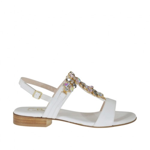 Woman's white sandal with rhinestones heel 2 - Available sizes:  32, 33, 34, 42, 46