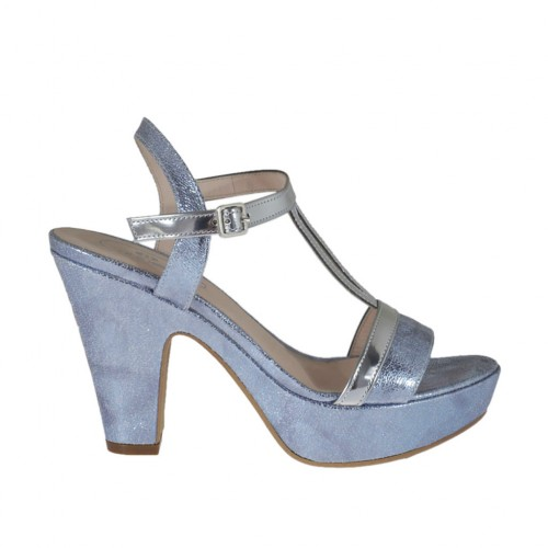 Woman's silver varnished and printed light blue platform strap sandal heel 9 - Available sizes:  31, 32, 33, 34, 43, 44, 45, 46