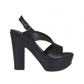 Sandalia negra para mujer con plataforma y tacon 11 - Tallas disponibles:  31, 32, 46