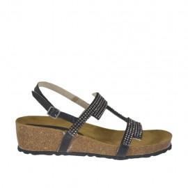 Sandalo nero da donna con strass e zeppa 4 in sughero - Misure disponibili: 42