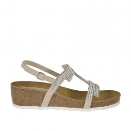 Woman's beige sandal with rhinestones and cork wedge 4 - Available sizes:  42, 46