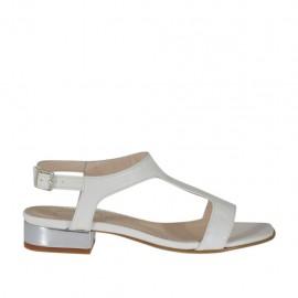 Sandalo bianco e argento da donna tacco 2 - Misure disponibili: 32, 33, 34, 42, 43, 44, 45, 46