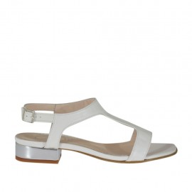 Woman's white and silver sandal heel 2 - Available sizes:  32, 44