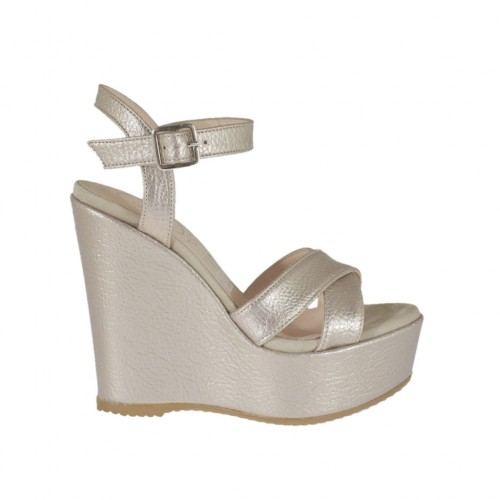 Powder-colored laminated and printed strap sandal for woman with coated platform and wedge 11 - Available sizes:  31, 42, 43, 46