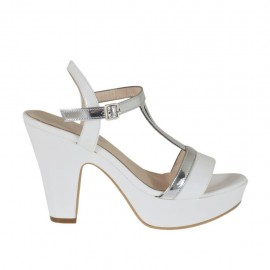 Woman's white and silver varnished platform strap sandal heel 9 - Available sizes:  46