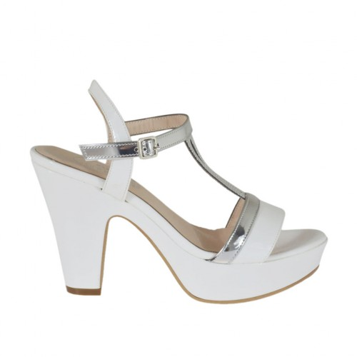 Woman's white and silver varnished platform strap sandal heel 9 - Available sizes:  31, 46