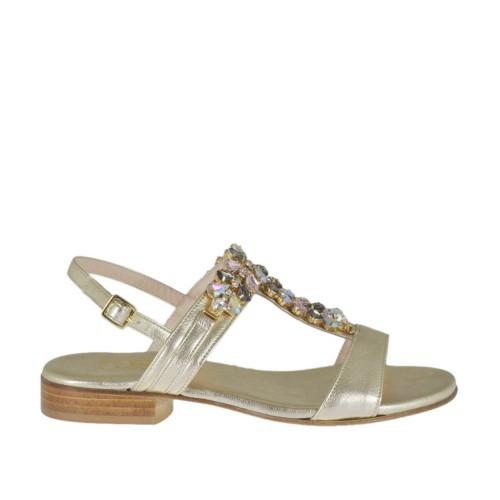Woman's platinum laminated sandal with rhinestones heel 2 - Available sizes:  32, 33, 34, 44, 46