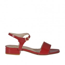 Woman's strap sandal in red varnish heel 2 - Available sizes:  32, 33, 42, 44