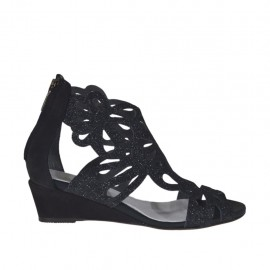Woman's open shoe with zipper in black glittered leather and nubuck leather wedge heel 3 - Available sizes:  42