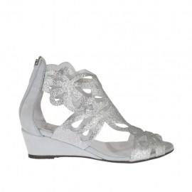 Zapato abierto para mujer con cremallera en piel brillante plateada y piel nubuk gris cuña 3 - Tallas disponibles:  34, 42, 43, 44, 45