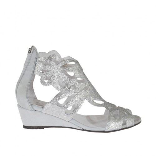 Woman's open shoe with zipper in silver glittered leather and gris nubuck leather wedge heel 3 - Available sizes:  42