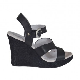 Woman's strap sandal in black leather and lace with platform and wedge heel 9 - Available sizes:  42, 43