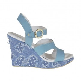 Woman's strap sandal in light blue leather and jeans fabric with platform and wedge heel 9 - Available sizes:  31, 33, 34, 42, 43, 46