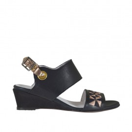 Woman's sandal in black and copper laminated leather with embroidery wedge heel 3 - Available sizes:  33, 42, 43, 44, 45, 46