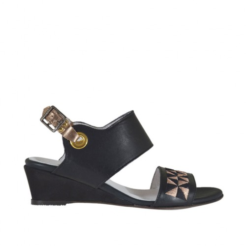 Woman's sandal in black and copper laminated leather with embroidery wedge heel 3 - Available sizes:  33, 42, 43, 44, 46