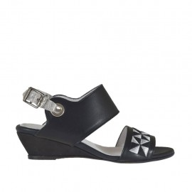 Woman's sandal in black and silver laminated leather with embroidery wedge heel 3 - Available sizes:  33, 42, 43, 45, 46