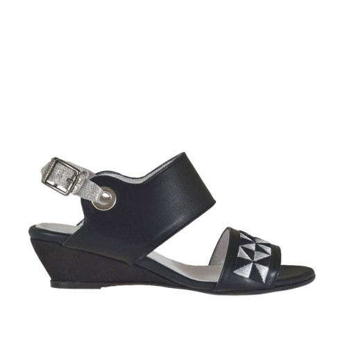 Woman's sandal in black and silver laminated leather with embroidery wedge heel 3 - Available sizes:  33, 34, 42, 43, 44, 45, 46