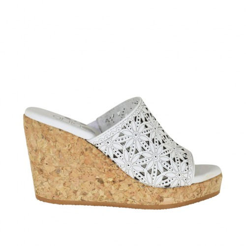 Woman's open mules in white pierced leather with platform and wedge heel 8 - Available sizes:  33, 34, 42, 43, 44