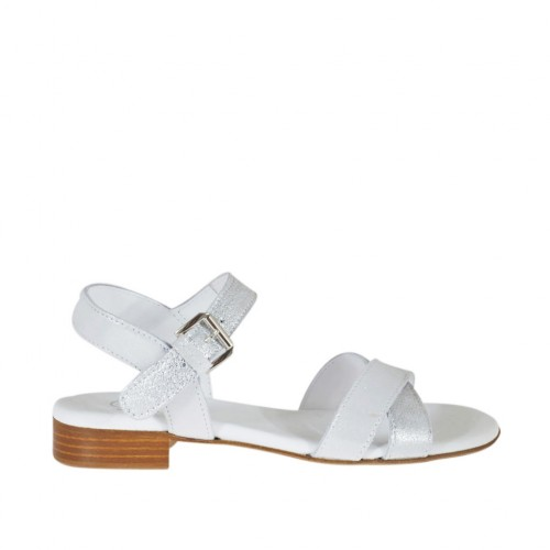 Woman's strap sandal in silver laminated and printed glittered leather heel 2 - Available sizes:  32
