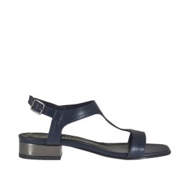 Woman's blue and gunmetal grey sandal heel 2 - Available sizes:  32, 44, 45, 46
