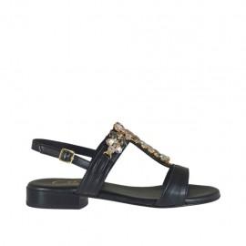 Sandalia negra con piedras para mujer tacon 2 - Tallas disponibles:  32, 42