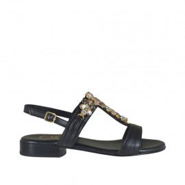 Woman's black sandal with rhinestones heel 2 - Available sizes:  32, 33, 34, 42, 43, 44, 46