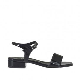 Sandalo da donna con cinturino in vernice nera tacco 2 - Misure disponibili: 32, 33, 34, 42, 43, 44, 46
