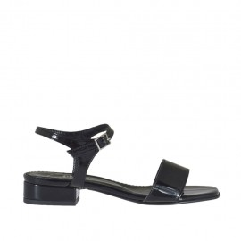 Woman's strap sandal in black varnish heel 2 - Available sizes:  32, 43