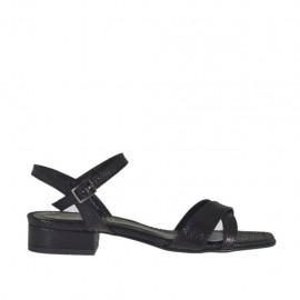 Sandalia con cinturon para mujer en barniz imprimido negro tacon 2 - Tallas disponibles:  32