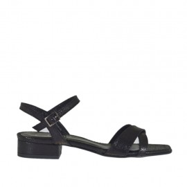 Woman's sandal in black printed varnish with strap heel 2 - Available sizes:  32, 33