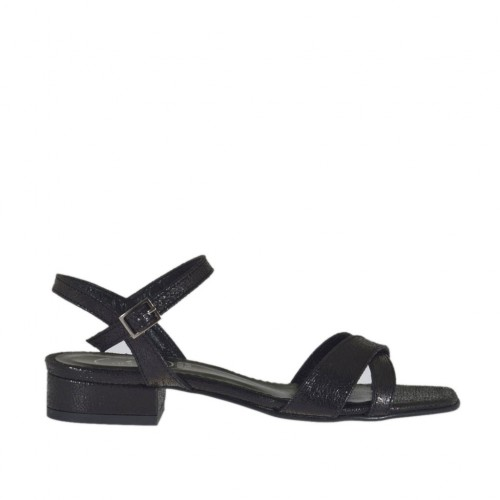 Woman's sandal in black printed varnish with strap heel 2 - Available sizes:  32