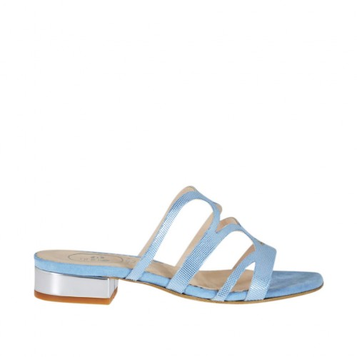 Woman's open mule in light blue glittered printed suede and silver patent leather heel 2 - Available sizes:  32, 42