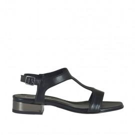Sandalia negra y bronce de cañon para mujer tacon 2 - Tallas disponibles:  46
