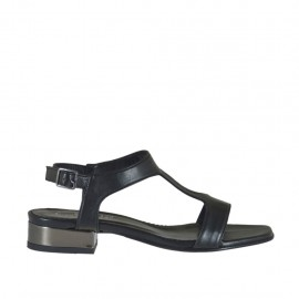 Woman's black and gunmetal grey sandal heel 2 - Available sizes:  32, 33, 34, 42, 43, 44, 45, 46