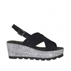 Sandalo da donna in camoscio stampato e glitterato nero e tessuto laminato argento con plateau e zeppa 6 - Misure disponibili: 32, 34