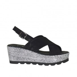 Woman's sandal in black glittered printed suede and silver laminated fabric with platform and wedge 6 - Available sizes:  32, 33, 34, 46