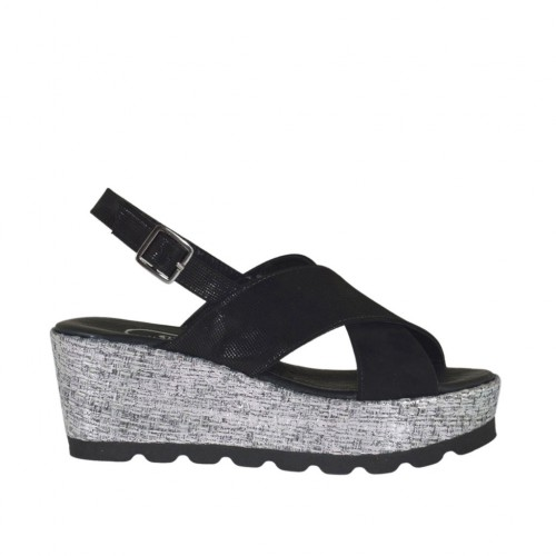 Woman's sandal in black glittered printed suede and silver laminated fabric with platform and wedge 6 - Available sizes:  32, 34