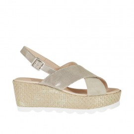 ?Woman's sandal in beige glittered printed suede and platinum laminated rope with platform and wedge 6 - Available sizes:  46