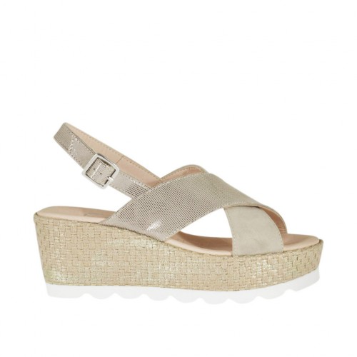 ?Woman's sandal in beige glittered printed suede and platinum laminated rope with platform and wedge 6 - Available sizes:  42, 45, 46