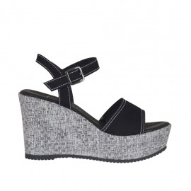 Woman's strap sandal in black suede and silver laminated fabric with platform and wedge 9 - Available sizes:  31, 32, 33, 34, 42, 43, 45